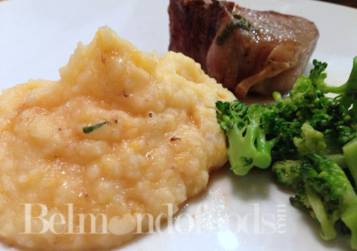 Mash with meat and broccoli