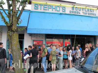 Waiting in line at Stephos our favorite Greek restaurant.... almost there.